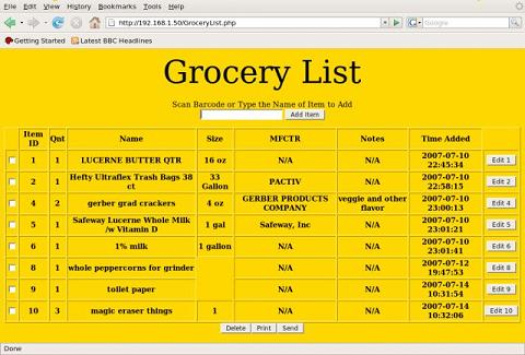 Grocery List - Project Home Page